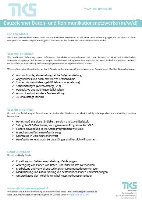 Stellenanzeige Bauzeichner Datentechnik